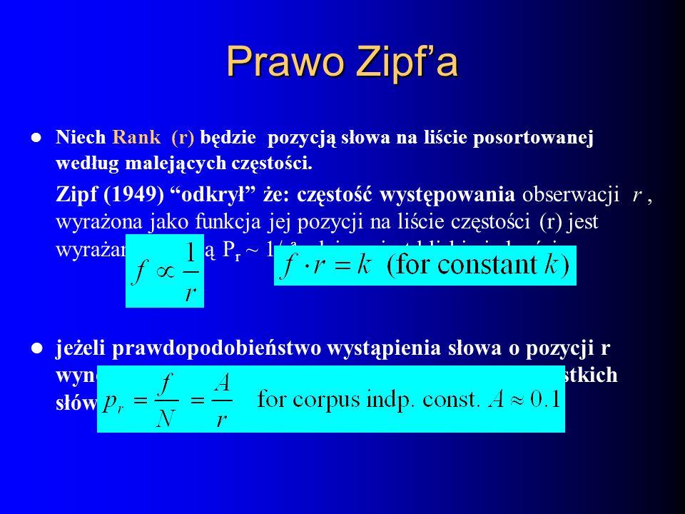 Niech Rank (r) będzie pozycją słowa na liście posortowanej według malejących częstości. Zipf (1949) odkrył że: częstość występowania obserwacji r, wyr