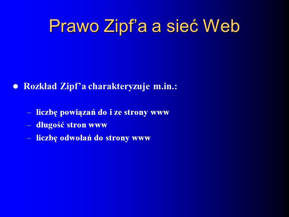 Prawo Zipfa a sieć Web Rozkład Zipfa charakteryzuje m.in.: – liczbę powiązań do i ze strony www – długość stron www – liczbę odwołań do strony www
