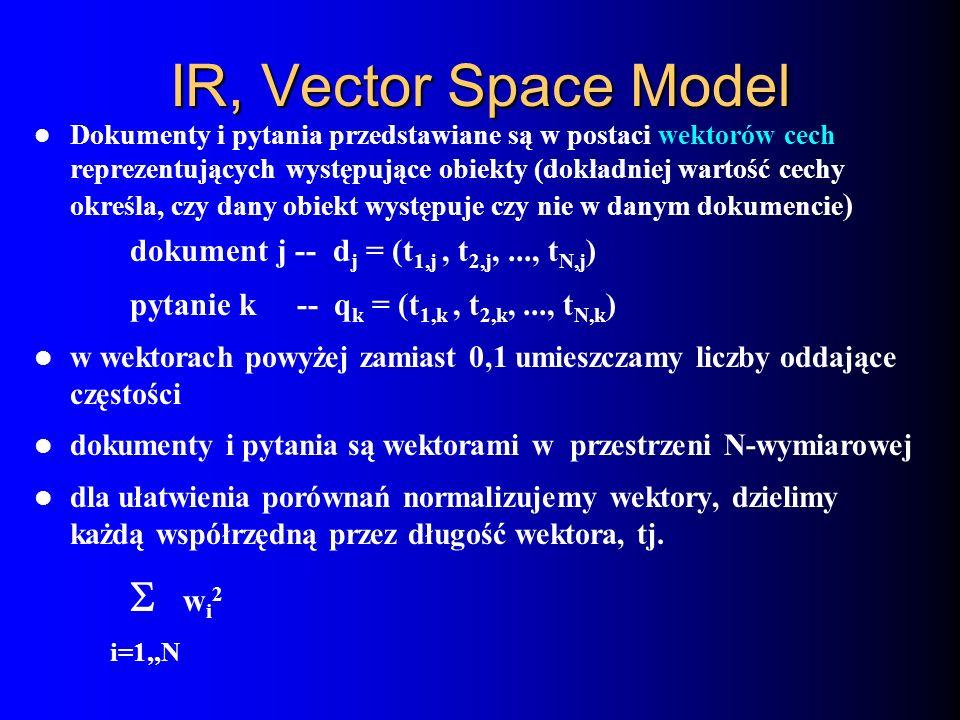 IR, Vector Space Model Dokumenty i pytania przedstawiane są w postaci wektorów cech reprezentujących występujące obiekty (dokładniej wartość cechy okr