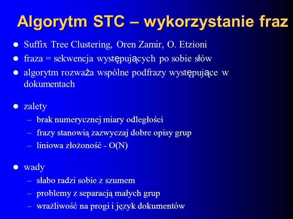 Algorytm STC – wykorzystanie fraz Suffix Tree Clustering, Oren Zamir, O. Etzioni fraza = sekwencja wyst ę puj ą cych po sobie s ł ów algorytm rozwa ż