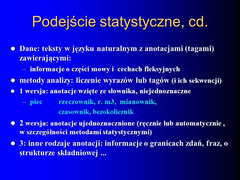 Podejście statystyczne, cd. Dane: teksty w języku naturalnym z anotacjami (tagami) zawierającymi: – informacje o części mowy i cechach fleksyjnych met
