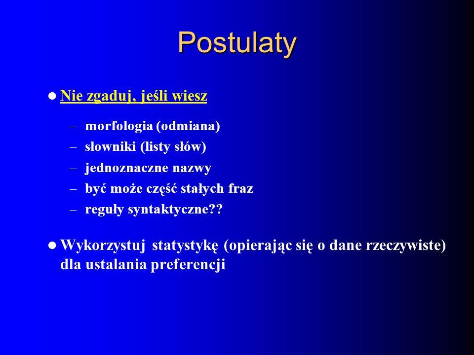 Postulaty Nie zgaduj, jeśli wiesz – morfologia (odmiana) – słowniki (listy słów) – jednoznaczne nazwy – być może część stałych fraz – reguły syntaktyc