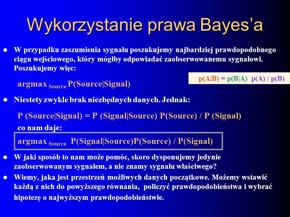 Wykorzystanie prawa Bayesa W przypadku zaszumienia sygnału poszukujemy najbardziej prawdopodobnego ciągu wejściowego, który mógłby odpowiadać zaobserw