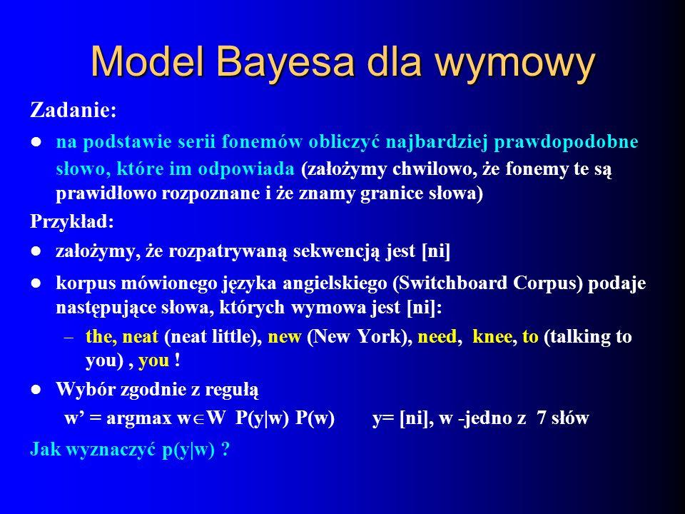 Model Bayesa dla wymowy Zadanie: na podstawie serii fonemów obliczyć najbardziej prawdopodobne słowo, które im odpowiada (założymy chwilowo, że fonemy