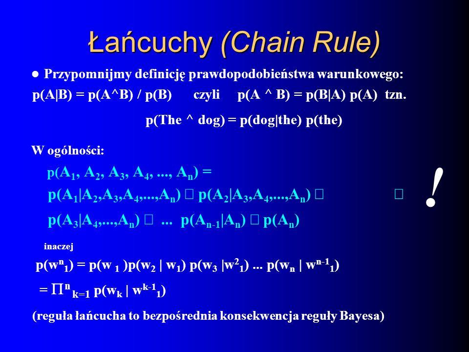 Łańcuchy (Chain Rule) Przypomnijmy definicję prawdopodobieństwa warunkowego: p(A|B) = p(A^B) / p(B) czyli p(A ^ B) = p(B|A) p(A) tzn. p(The ^ dog) = p