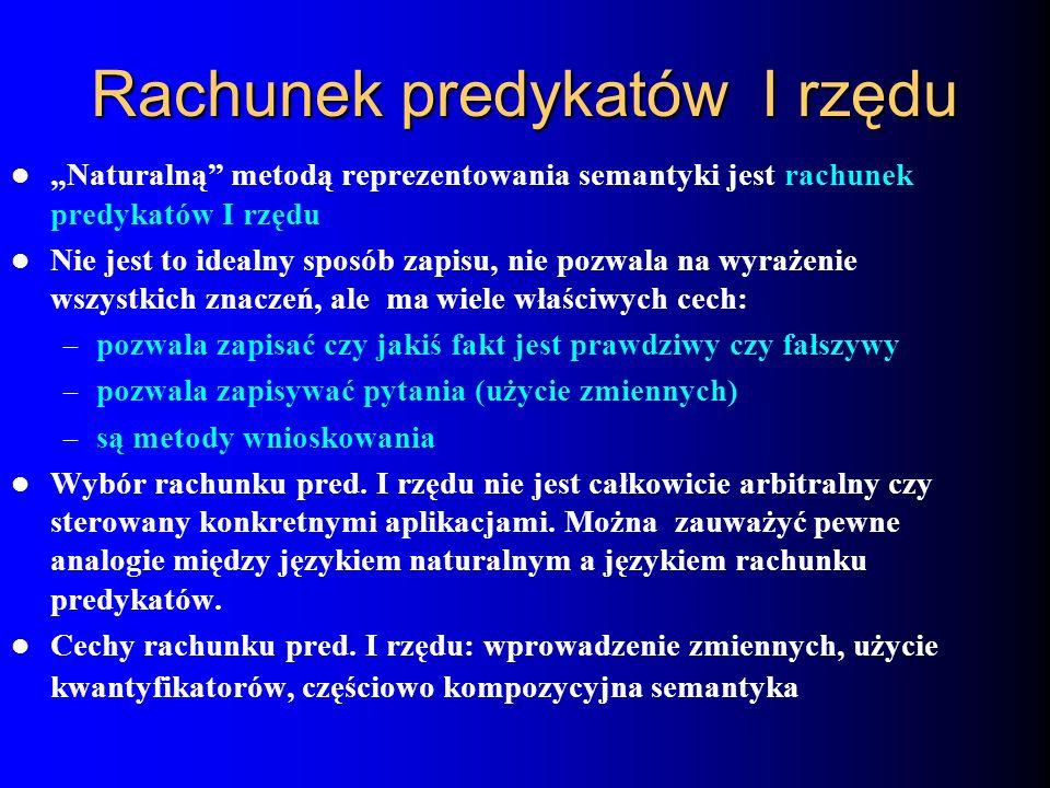Rachunek predykatów I rzędu Naturalną metodą reprezentowania semantyki jest rachunek predykatów I rzędu Nie jest to idealny sposób zapisu, nie pozwala