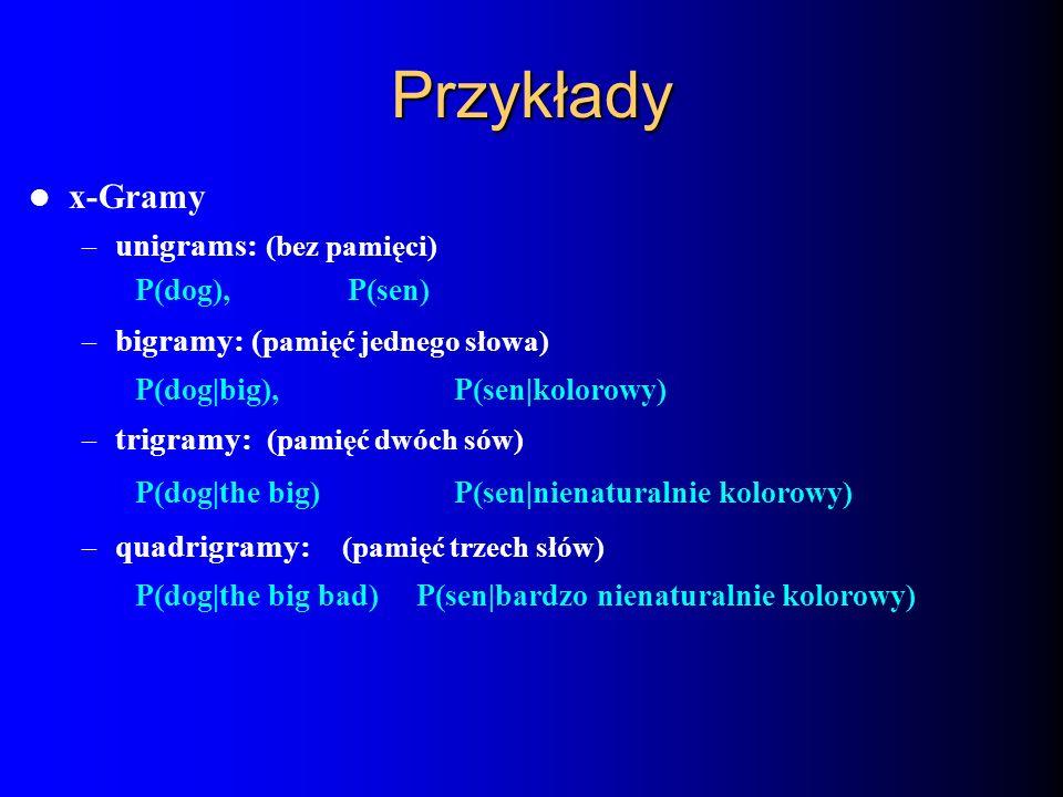 Przykłady x-Gramy – unigrams: (bez pamięci) P(dog), P(sen) – bigramy: ( pamięć jednego słowa) P(dog|big), P(sen|kolorowy) – trigramy: (pamięć dwóch só