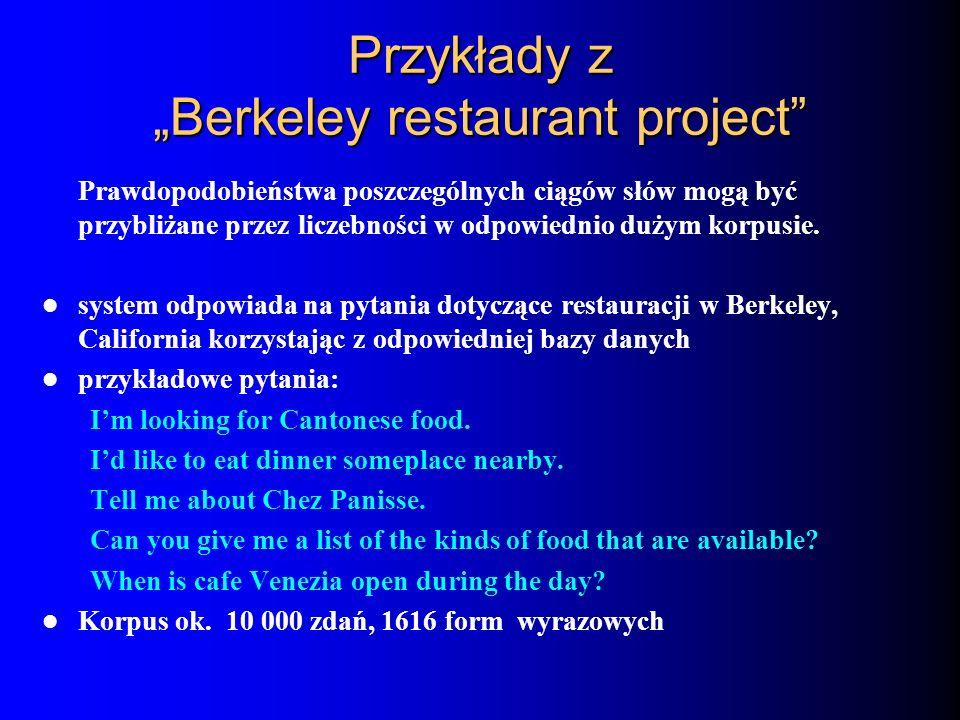 Przykłady z Berkeley restaurant project Prawdopodobieństwa poszczególnych ciągów słów mogą być przybliżane przez liczebności w odpowiednio dużym korpu