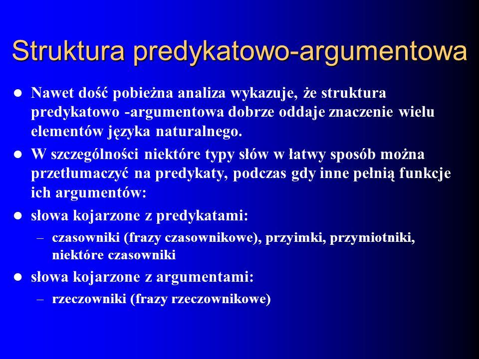 Struktura predykatowo-argumentowa Nawet dość pobieżna analiza wykazuje, że struktura predykatowo -argumentowa dobrze oddaje znaczenie wielu elementów