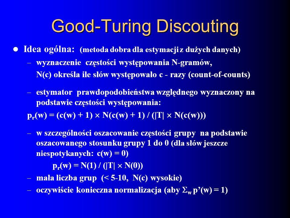 Good-Turing Discouting Idea ogólna: (metoda dobra dla estymacji z dużych danych) – wyznaczenie częstości występowania N-gramów, N(c) określa ile słów