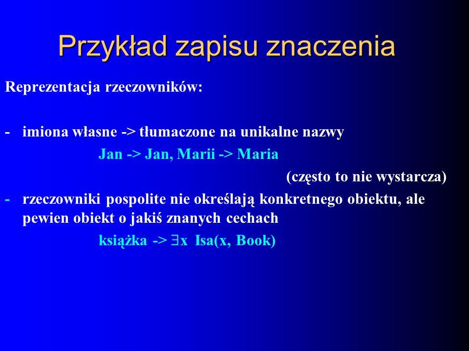 Przykład zapisu znaczenia Reprezentacja rzeczowników: - imiona własne -> tłumaczone na unikalne nazwy Jan -> Jan, Marii -> Maria (często to nie wystar