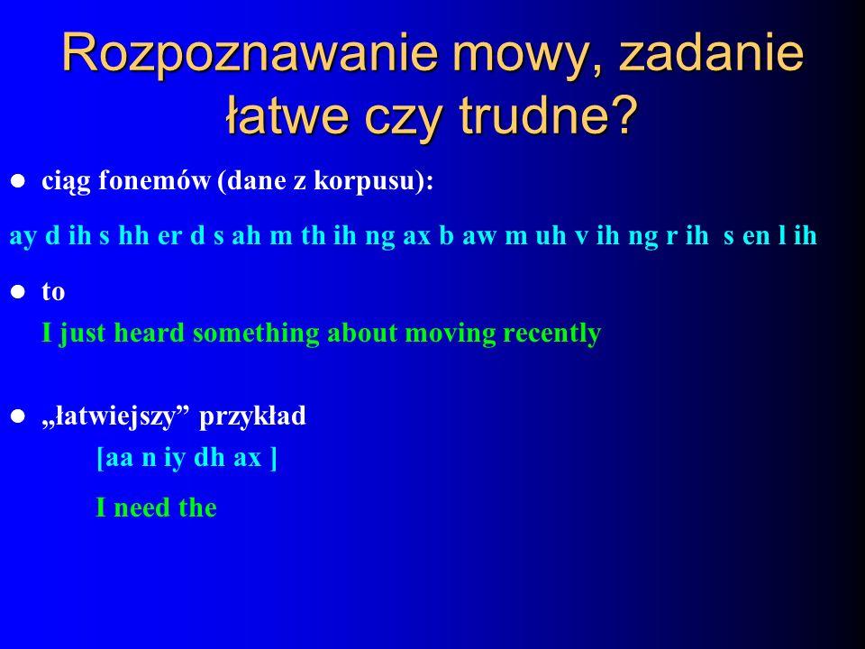 Rozpoznawanie mowy, zadanie łatwe czy trudne? ciąg fonemów (dane z korpusu): ay d ih s hh er d s ah m th ih ng ax b aw m uh v ih ng r ih s en l ih to