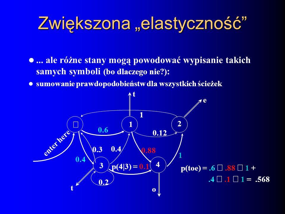 Zwiększona elastyczność... ale różne stany mogą powodować wypisanie takich samych symboli (bo dlaczego nie?) : sumowanie prawdopodobieństw dla wszystk