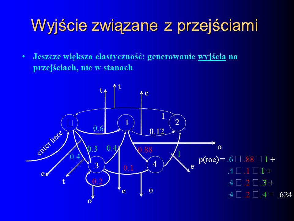 Wyjście związane z przejściami Jeszcze większa elastyczność: generowanie wyjścia na przejściach, nie w stanach 3 1 4 2 0.6 0.4 0.3 0.4 0.2 0.88 1 0.12