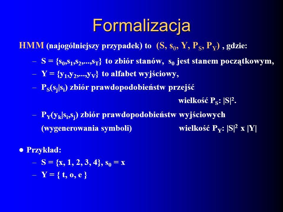 Formalizacja HMM (najogólniejszy przypadek ) to (S, s 0, Y, P S, P Y ), gdzie: – S = {s 0,s 1,s 2,...,s T } to zbiór stanów, s 0 jest stanem początkow