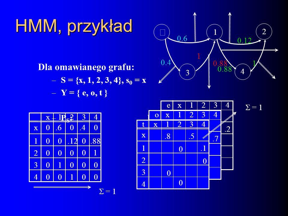 HMM, przykład Dla omawianego grafu: – S = {x, 1, 2, 3, 4}, s 0 = x – Y = { e, o, t } – P S : P Y : 0 0 0 0 0 0 0 0 0.6.400 0 0 100.12.88 10 100 x12 2