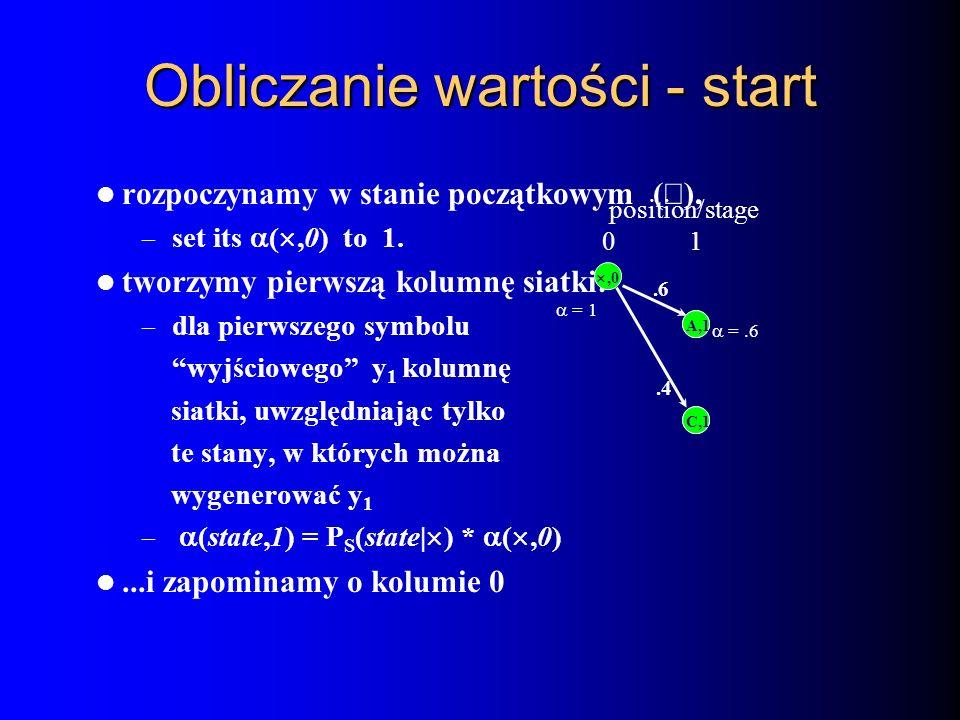 Obliczanie wartości - start rozpoczynamy w stanie początkowym ( ), – set its (,0) to 1. tworzymy pierwszą kolumnę siatki: – dla pierwszego symbolu wyj
