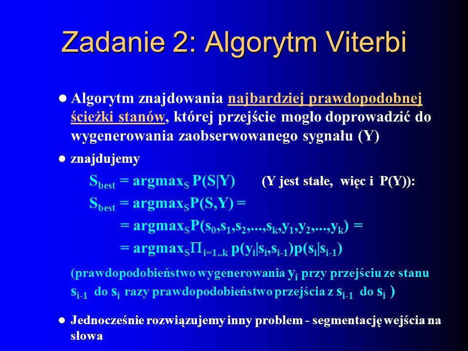 Zadanie 2: Algorytm Viterbi Algorytm znajdowania najbardziej prawdopodobnej ścieżki stanów, której przejście mogło doprowadzić do wygenerowania zaobse