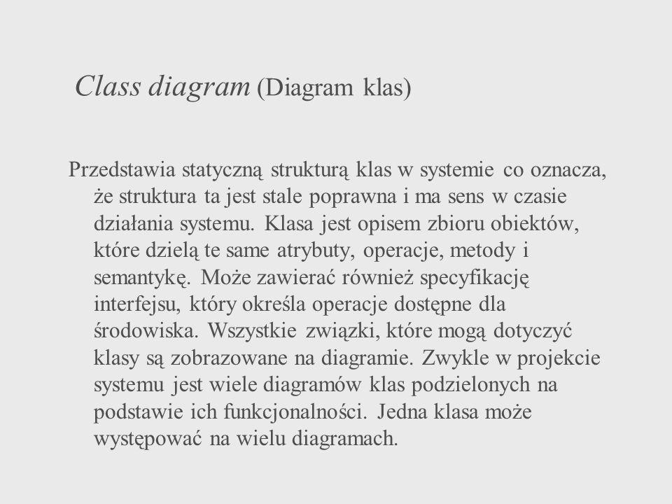Class diagram (Diagram klas) Przedstawia statyczną strukturą klas w systemie co oznacza, że struktura ta jest stale poprawna i ma sens w czasie działa