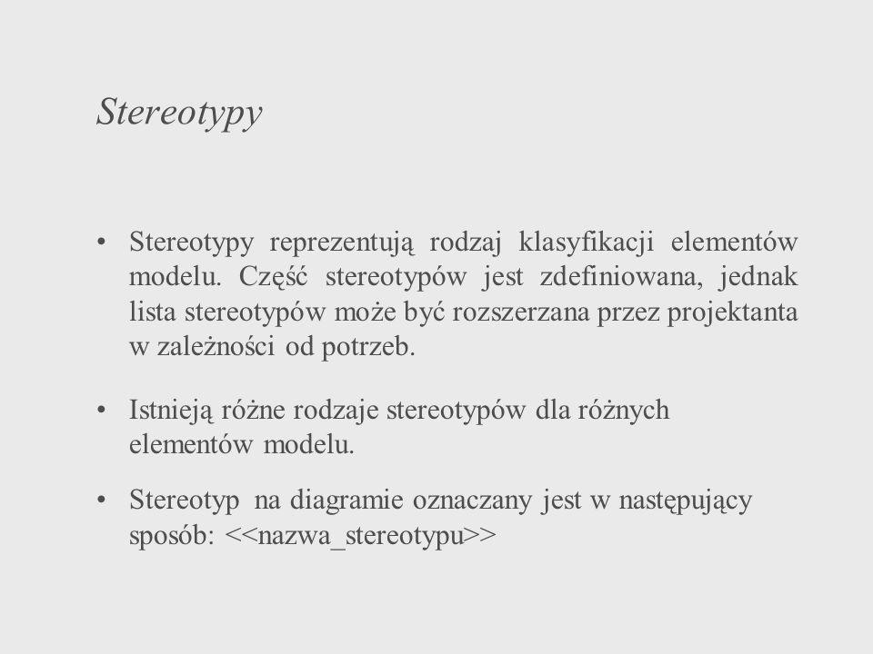 Stereotypy Stereotypy reprezentują rodzaj klasyfikacji elementów modelu. Część stereotypów jest zdefiniowana, jednak lista stereotypów może być rozsze