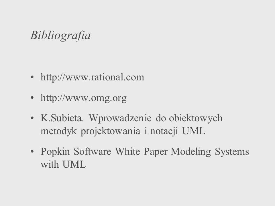 Bibliografia http://www.rational.com http://www.omg.org K.Subieta. Wprowadzenie do obiektowych metodyk projektowania i notacji UML Popkin Software Whi