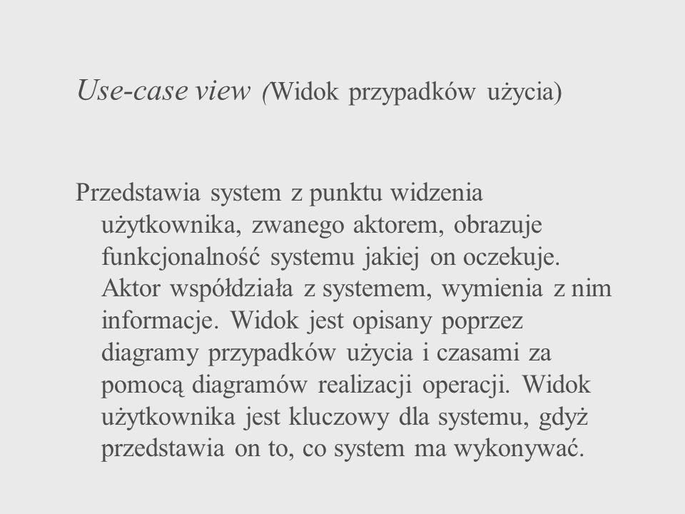 Use-case view (Widok przypadków użycia) Przedstawia system z punktu widzenia użytkownika, zwanego aktorem, obrazuje funkcjonalność systemu jakiej on o