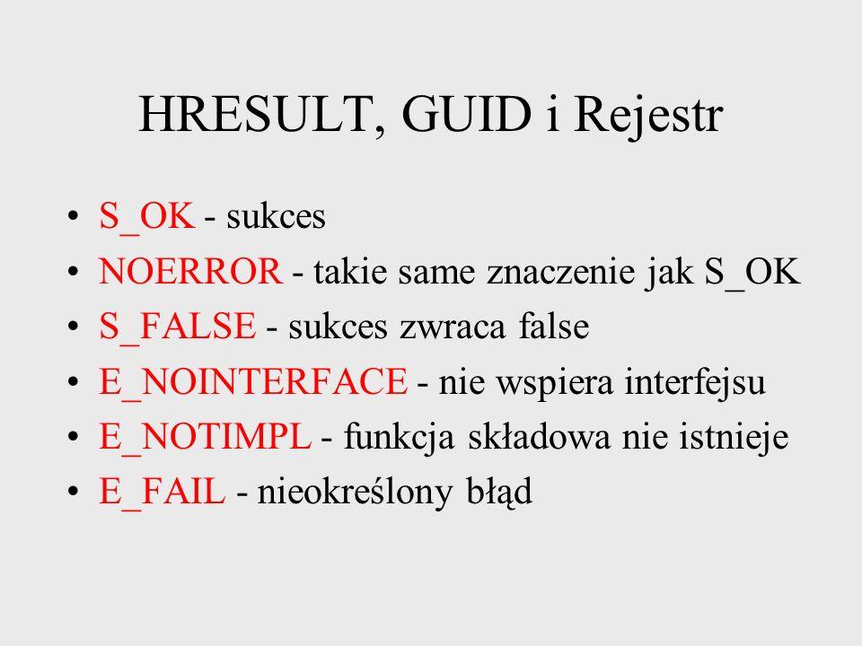 HRESULT, GUID i Rejestr HRESULT 32-bitowa liczba S_... sukces, E_... porażka błąd S_OK definiowane jako 0 E_FALSE definiowane jako 1 3130 16 15 0 15 b