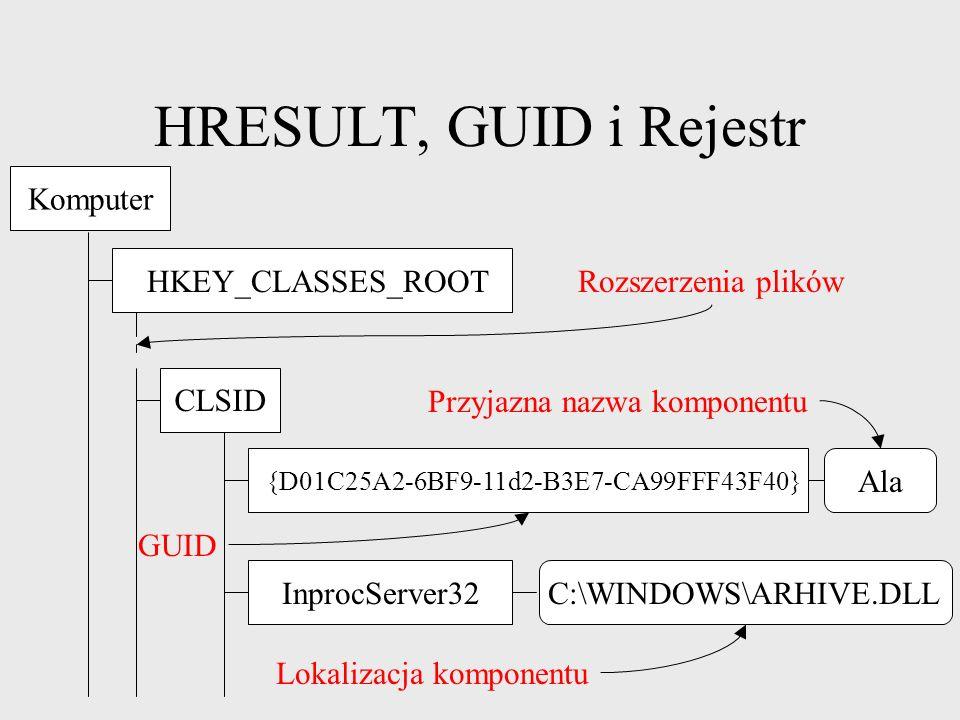 HRESULT, GUID i Rejestr GUID (Globally Unique Identifier) niepowtarzalny identyfikator każdy interfejs posiada GUID GUIDGEN.EXE + kod źródłowy powtórzy się ok.