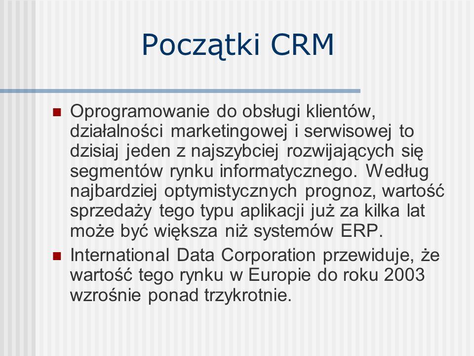 Początki CRM Oprogramowanie do obsługi klientów, działalności marketingowej i serwisowej to dzisiaj jeden z najszybciej rozwijających się segmentów ry