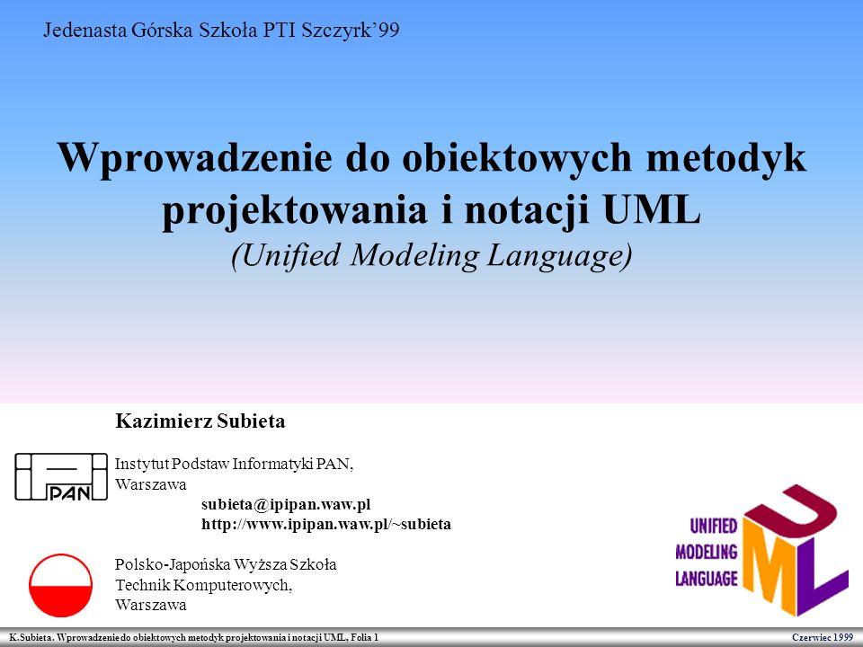 K.Subieta. Wprowadzenie do obiektowych metodyk projektowania i notacji UML, Folia 1 Czerwiec 1999 Wprowadzenie do obiektowych metodyk projektowania i