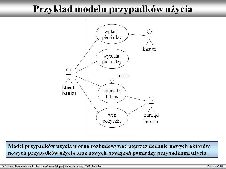 K.Subieta. Wprowadzenie do obiektowych metodyk projektowania i notacji UML, Folia 101 Czerwiec 1999 Przykład modelu przypadków użycia klient banku wpł