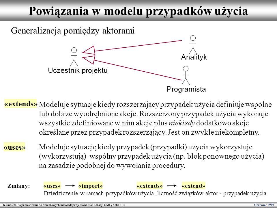 K.Subieta. Wprowadzenie do obiektowych metodyk projektowania i notacji UML, Folia 104 Czerwiec 1999 Powiązania w modelu przypadków użycia Uczestnik pr