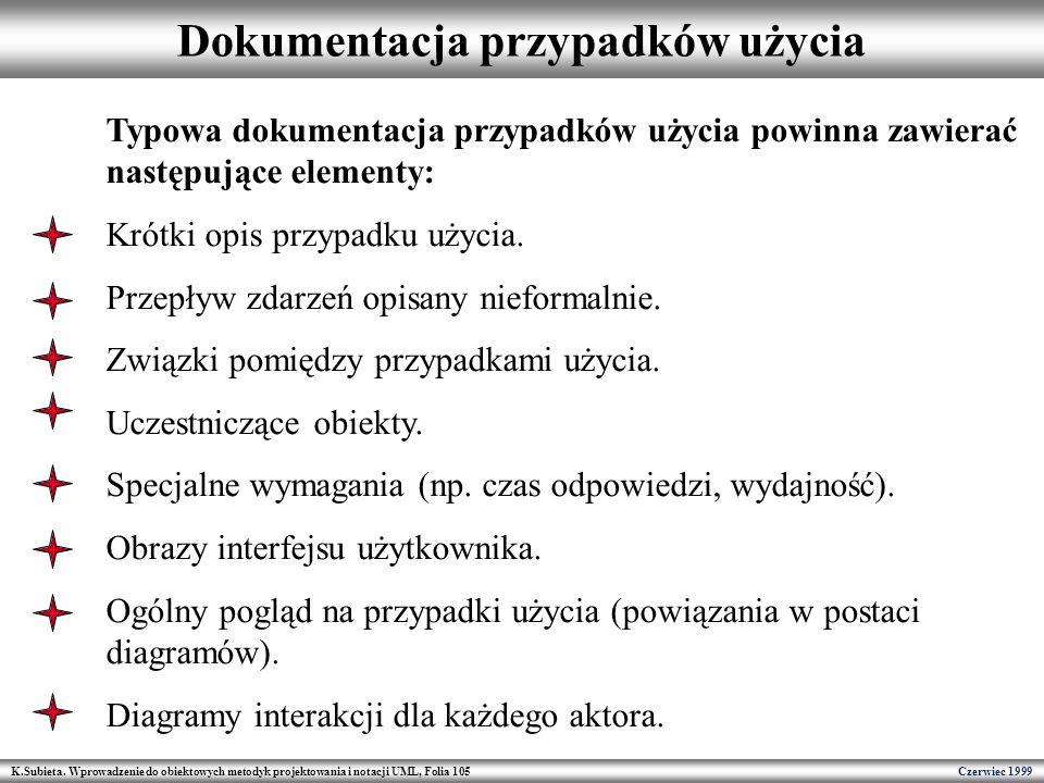K.Subieta. Wprowadzenie do obiektowych metodyk projektowania i notacji UML, Folia 105 Czerwiec 1999 Dokumentacja przypadków użycia Typowa dokumentacja