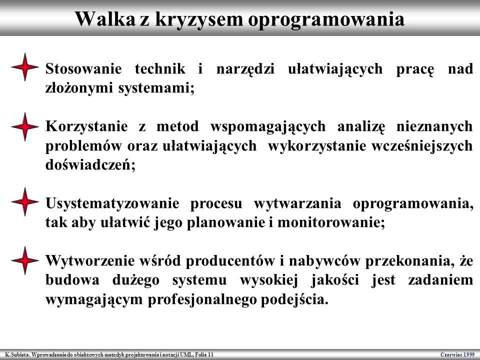 K.Subieta. Wprowadzenie do obiektowych metodyk projektowania i notacji UML, Folia 11 Czerwiec 1999 Walka z kryzysem oprogramowania Stosowanie technik