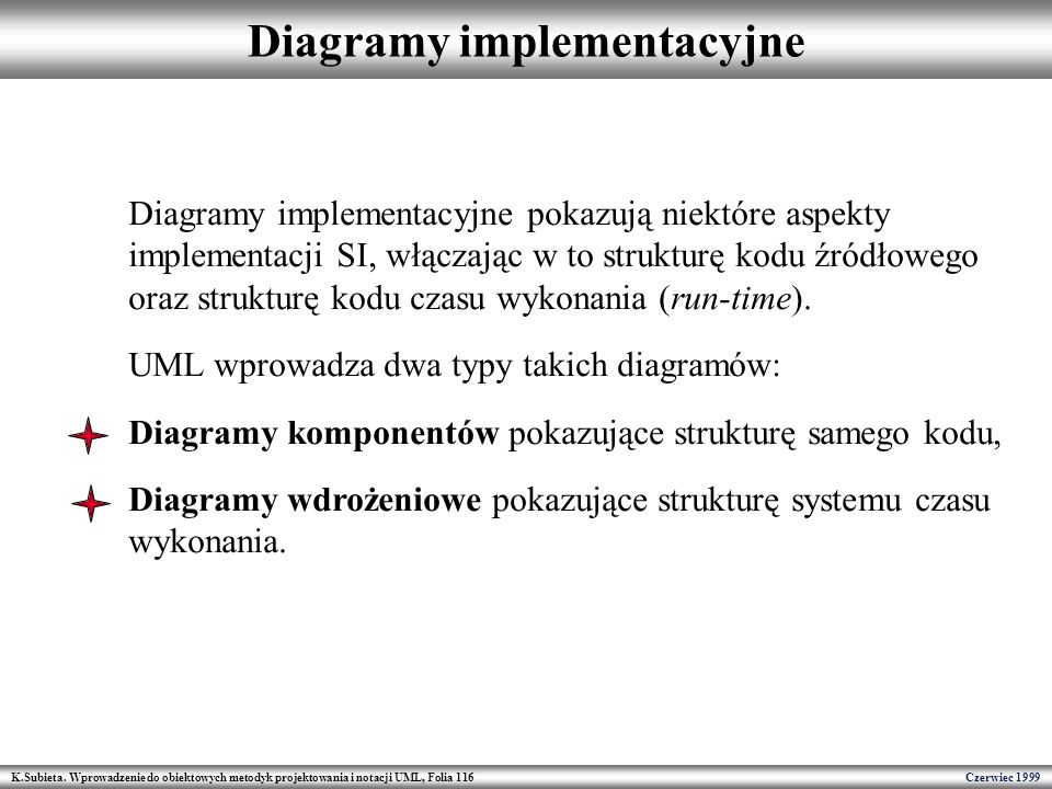 K.Subieta. Wprowadzenie do obiektowych metodyk projektowania i notacji UML, Folia 116 Czerwiec 1999 Diagramy implementacyjne Diagramy implementacyjne