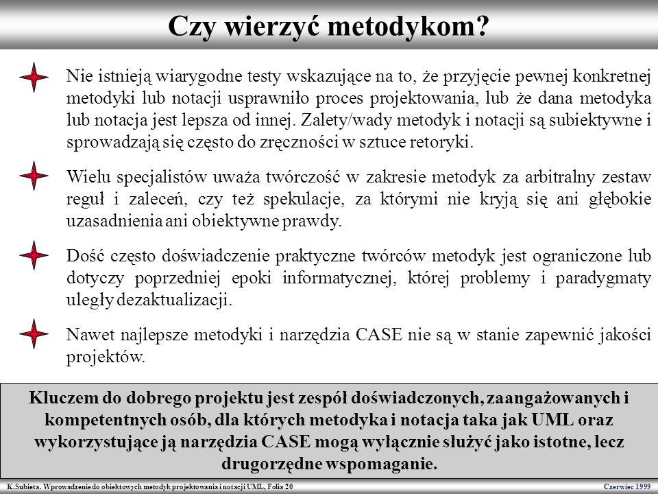 K.Subieta. Wprowadzenie do obiektowych metodyk projektowania i notacji UML, Folia 20 Czerwiec 1999 Czy wierzyć metodykom? Nie istnieją wiarygodne test