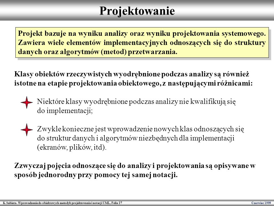 K.Subieta. Wprowadzenie do obiektowych metodyk projektowania i notacji UML, Folia 27 Czerwiec 1999 Projektowanie Projekt bazuje na wyniku analizy oraz