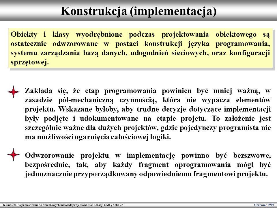 K.Subieta. Wprowadzenie do obiektowych metodyk projektowania i notacji UML, Folia 28 Czerwiec 1999 Konstrukcja (implementacja) Obiekty i klasy wyodręb