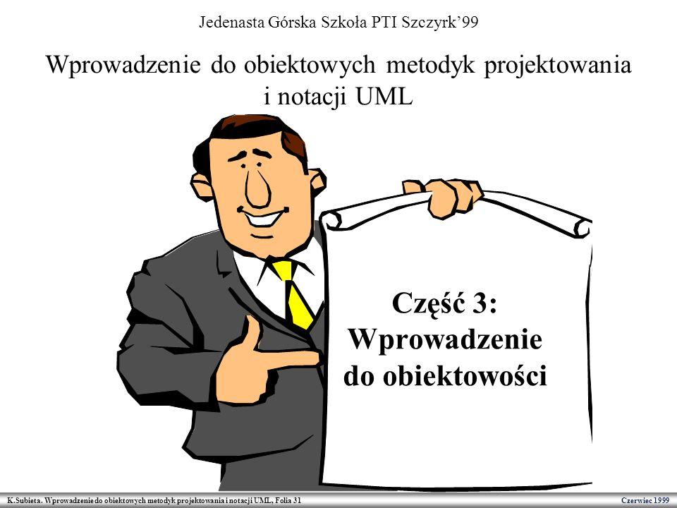 K.Subieta. Wprowadzenie do obiektowych metodyk projektowania i notacji UML, Folia 31 Czerwiec 1999 Wprowadzenie do obiektowych metodyk projektowania i