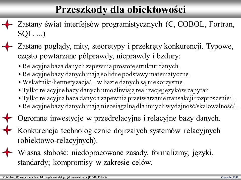 K.Subieta. Wprowadzenie do obiektowych metodyk projektowania i notacji UML, Folia 34 Czerwiec 1999 Przeszkody dla obiektowości Zastany świat interfejs