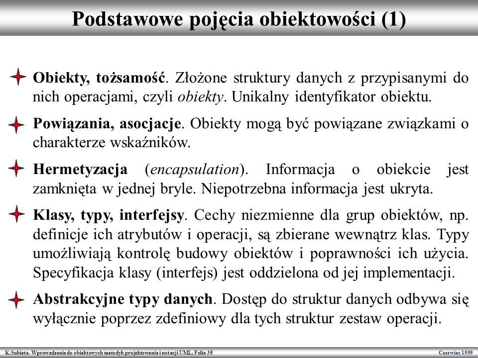 K.Subieta. Wprowadzenie do obiektowych metodyk projektowania i notacji UML, Folia 35 Czerwiec 1999 Podstawowe pojęcia obiektowości (1) Obiekty, tożsam