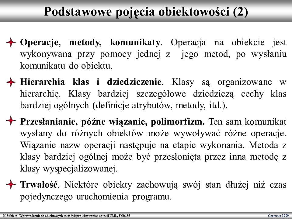 K.Subieta. Wprowadzenie do obiektowych metodyk projektowania i notacji UML, Folia 36 Czerwiec 1999 Podstawowe pojęcia obiektowości (2) Operacje, metod