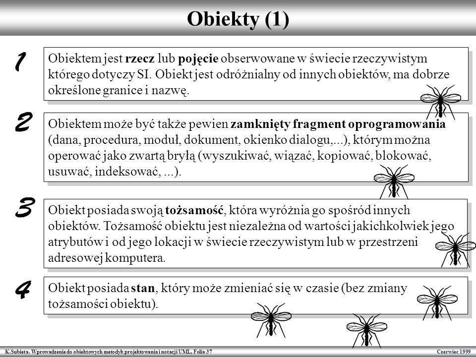 K.Subieta. Wprowadzenie do obiektowych metodyk projektowania i notacji UML, Folia 37 Czerwiec 1999 Obiekty (1) Obiektem może być także pewien zamknięt