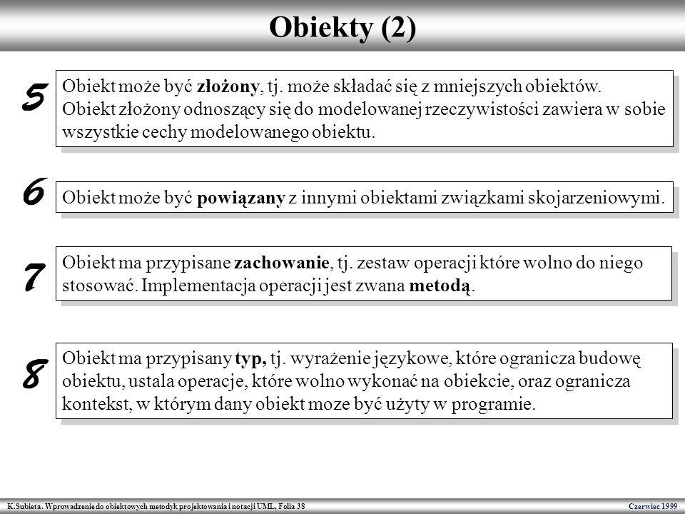 K.Subieta. Wprowadzenie do obiektowych metodyk projektowania i notacji UML, Folia 38 Czerwiec 1999 Obiekty (2) Obiekt może być złożony, tj. może skład