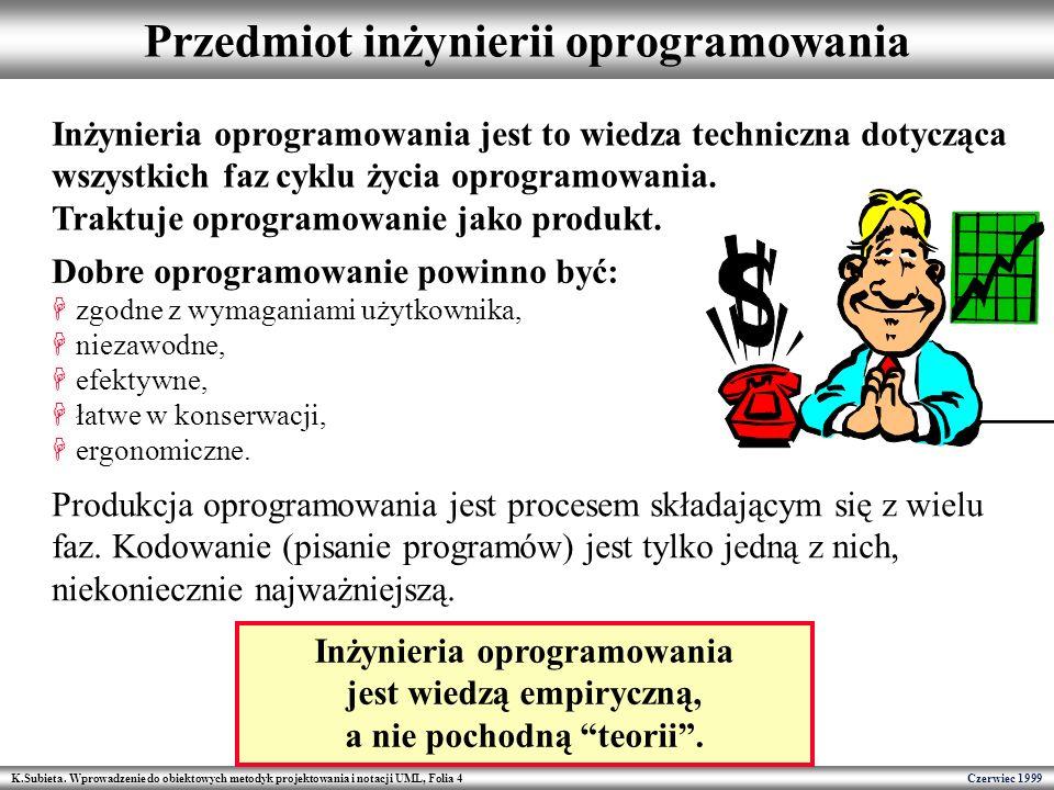 K.Subieta. Wprowadzenie do obiektowych metodyk projektowania i notacji UML, Folia 4 Czerwiec 1999 Przedmiot inżynierii oprogramowania Inżynieria oprog