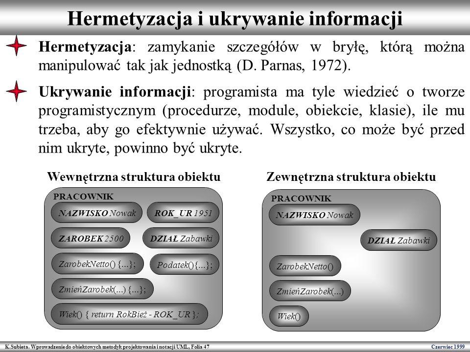 K.Subieta. Wprowadzenie do obiektowych metodyk projektowania i notacji UML, Folia 47 Czerwiec 1999 Hermetyzacja i ukrywanie informacji PRACOWNIK NAZWI