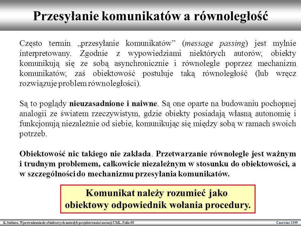 K.Subieta. Wprowadzenie do obiektowych metodyk projektowania i notacji UML, Folia 50 Czerwiec 1999 Przesyłanie komunikatów a równoległość Często termi