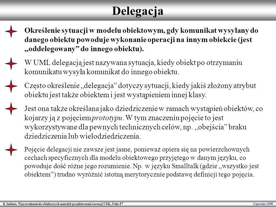 K.Subieta. Wprowadzenie do obiektowych metodyk projektowania i notacji UML, Folia 57 Czerwiec 1999 Delegacja Określenie sytuacji w modelu obiektowym,