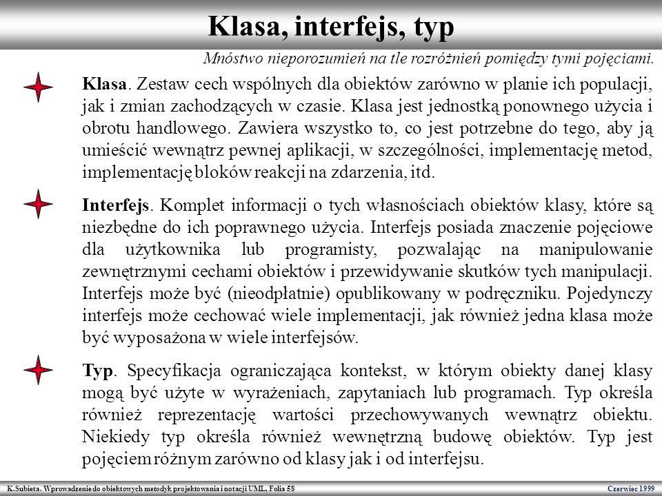 K.Subieta. Wprowadzenie do obiektowych metodyk projektowania i notacji UML, Folia 58 Czerwiec 1999 Klasa, interfejs, typ Mnóstwo nieporozumień na tle
