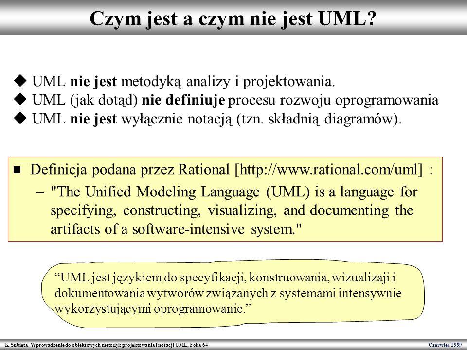 K.Subieta. Wprowadzenie do obiektowych metodyk projektowania i notacji UML, Folia 64 Czerwiec 1999 Czym jest a czym nie jest UML? UML nie jest metodyk